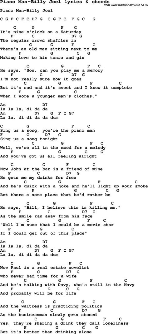 song of lyrics song lyrics for piano billy joel with chords for