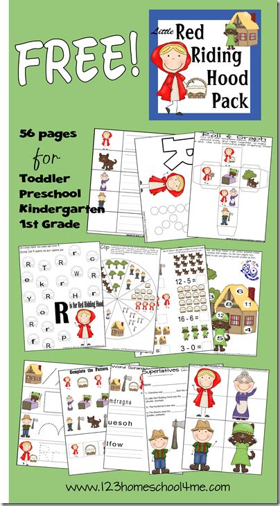 rr pattern words little red riding hood pre writing practice cutting