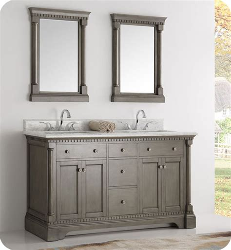 Silver Bathroom Vanity Fresca Kingston 61 Inch Traditional Bathroom Vanity Antique Silver