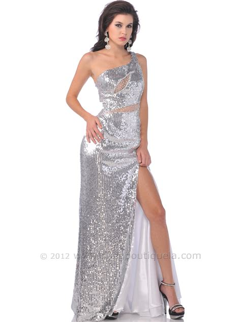 Sequined Prom Dress one shoulder sequin prom dress with slit sung