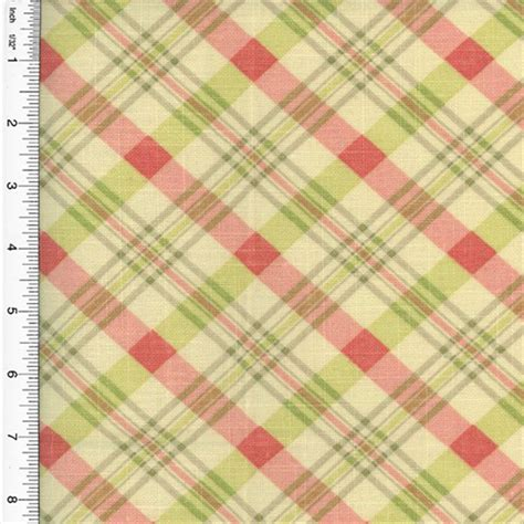 plaid home decor fabric designer cotton pink green chit chat plaid print home