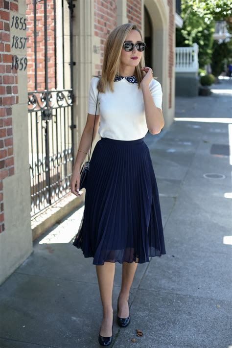 pleated skirt and lace collar sweater memorandum nyc