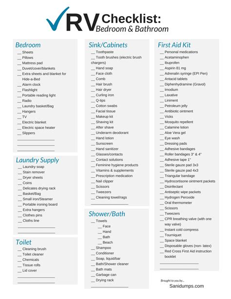 bathroom essentials checklist rv check list for rvers