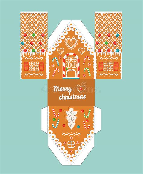 Glaze Paper Craft - printable gift gingerbread house with glaze