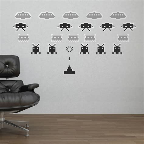 space wall stickers space invaders wall stickers by the binary box
