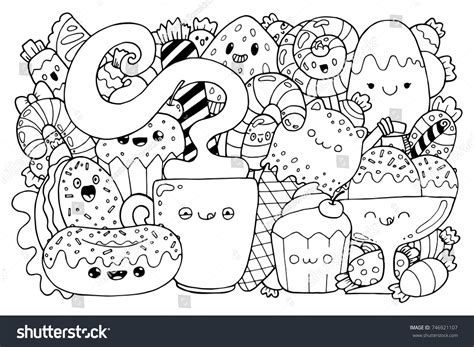 anti stress colouring book doodle and doodle kawaii style stock vector