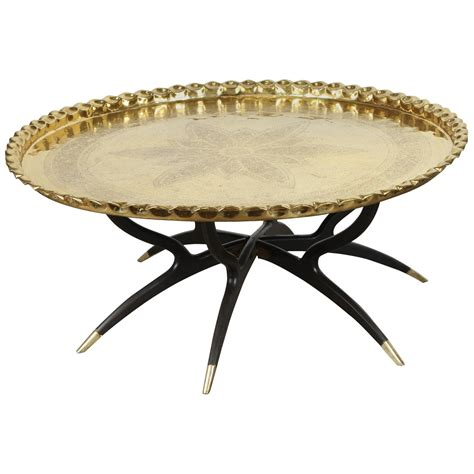 Large Tray For Coffee Table Large Polished Brass Tray Coffee Table On Spider Leg For Sale At 1stdibs