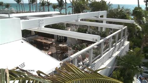 Blue Awning Soho House Hotel En Fold Retractable Roof By Uni Systems