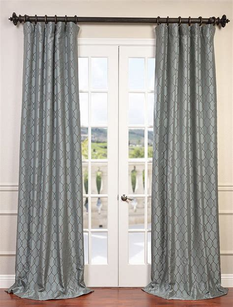 slate blue drapes meridian slate blue flocked faux silk taffeta curtain