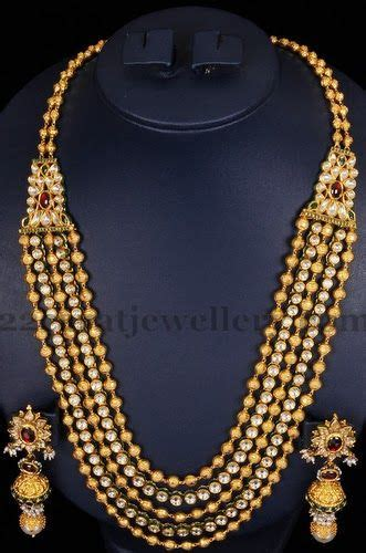 gold mala pattern jewellery designs 5 strings beads mala in kundan pattern