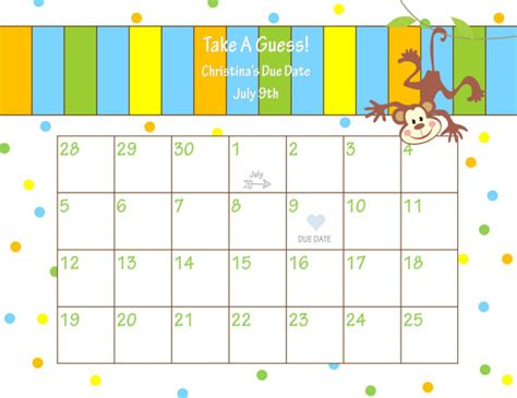 printable calendar custom dates printable due date calendar baby shower game guess