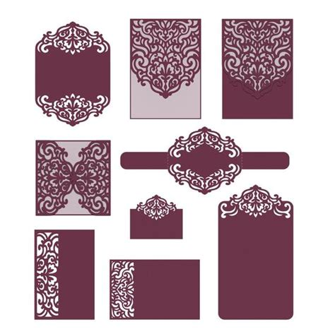 Laser Cut Wedding Invitation Templates Card Envelope Belly Laser Cut L Template