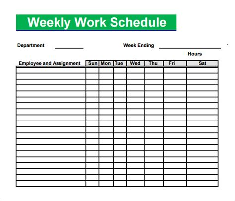 printable work schedule template blank schedule template 6 free documents in pdf