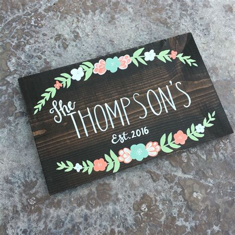 Handmade Name Signs - custom family name sign with established date and flowers