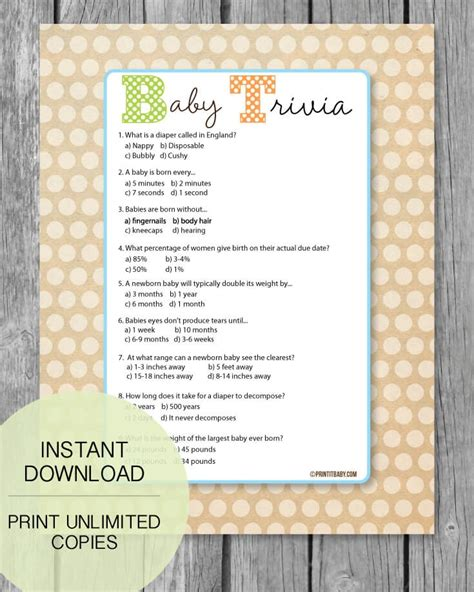 Baby Shower Trivia by Printable Baby Shower Trivia Printitbaby