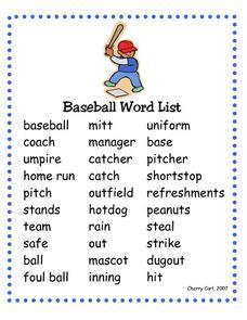 baseball word list 1st 2nd grade worksheet lesson planet