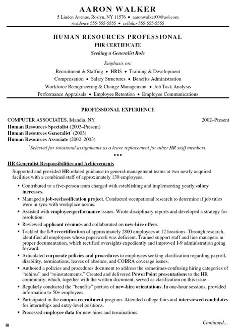 Sle Resume For Human Resources Position by Human Resources Resume Exles Hr Cover Letter Format