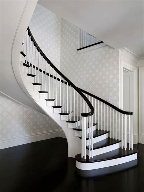 Black Handrail For Stairs Quatrefoil Wallpaper Contemporary Entrance Foyer
