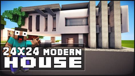 minecraft modern house tutorial minecraft house tutorial 24x24 modern house minecraft