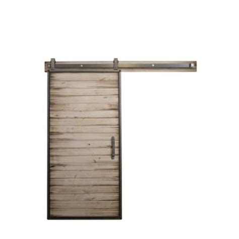 Rustica Hardware 42 In X 84 In Mountain Modern White Sliding Barn Door Hardware Home Depot