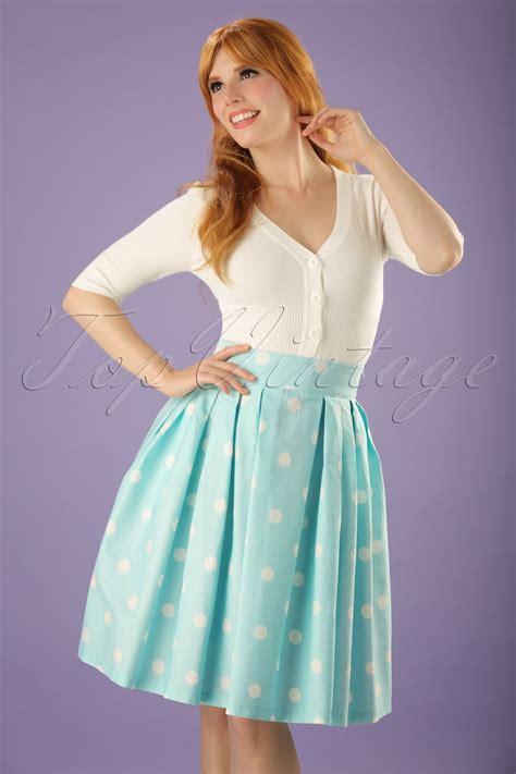 Baju Retro Polkadot 50s veronika polkadot swing skirt in mint