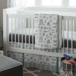 Baby Bedding Sets For Mist And Gray Owls 3 Crib Bedding Set Carousel Designs