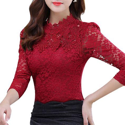 Sale Blouse Renda lace blouse wholesale black dressy blouses