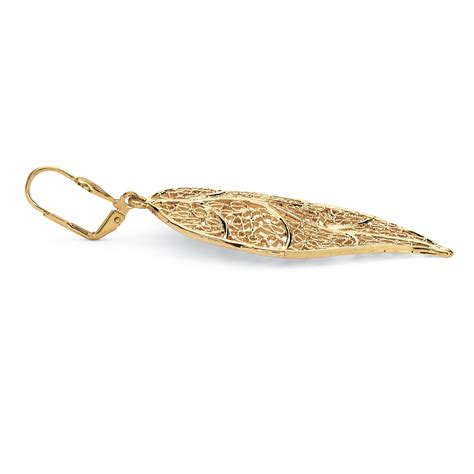 filigree leaf drop earrings in yellow gold tone ebay