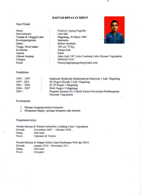 format cv bahasa indonesia download contoh format cv via email contoh 36