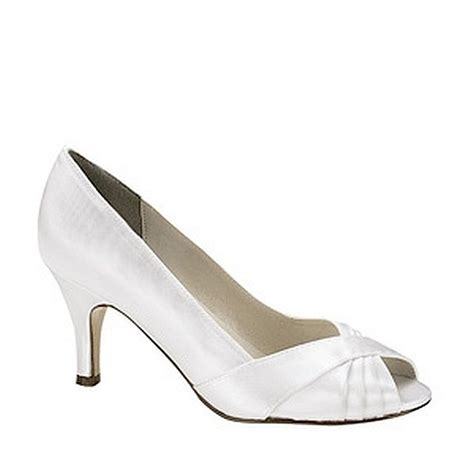 dyeable white satin 2 1 2 inch low heel prom bridal