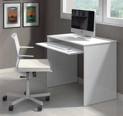 Milan Compact Computer Desk White Gloss Ebay Small White Computer Desk