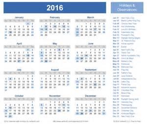 doc template calendar 2016 calendar with holidays templates printable doc