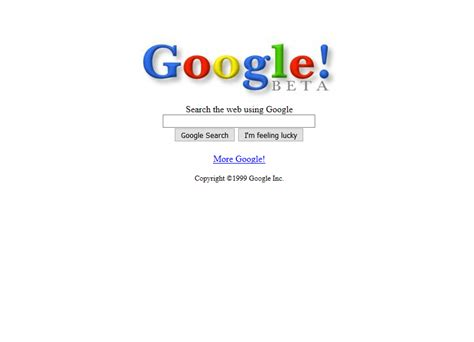 design google homepage google 1999 web design museum