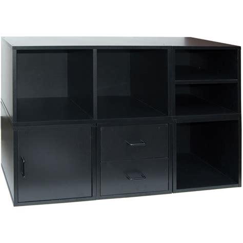 2 Drawer Storage Unit 6 Section Storage Unit With 2 Drawer Organizer Black