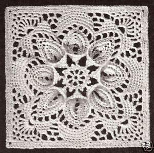 vintage crochet pattern   bedspread motif block lily