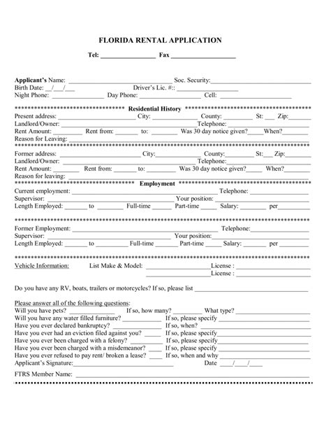 Free Florida Rental Application Form Pdf Eforms Free Fillable Forms Free Employment Application Template Florida