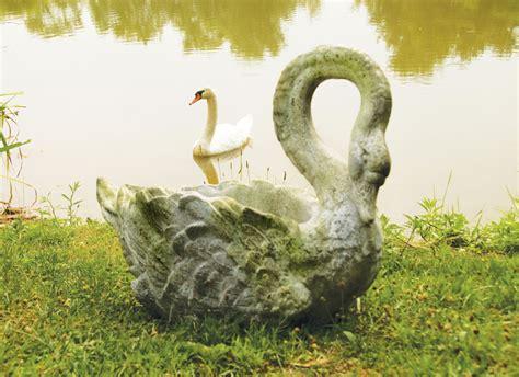 fiberstone swan planter flower pot