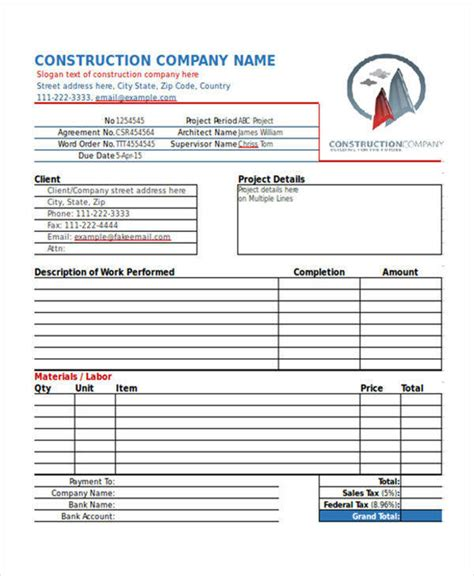 Building Work Receipt Template by Invoice For Construction Work Hardhost Info