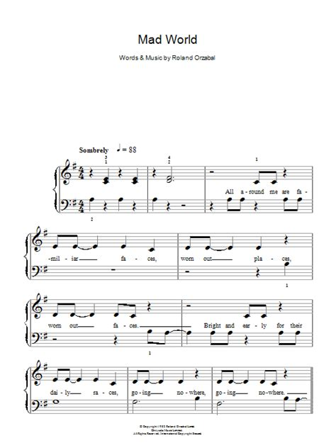 tutorial piano mad world mad world sheet music direct