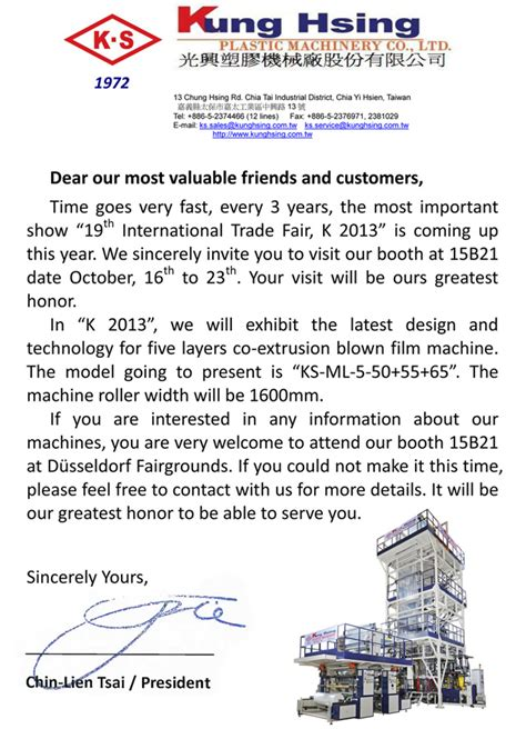 Invitation Letter Sle Exhibition Kung Hsing Plastic Machinery Co Ltd