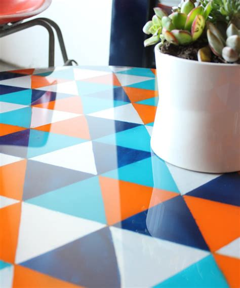 paint glass table top diy project painted glass tabletop design sponge