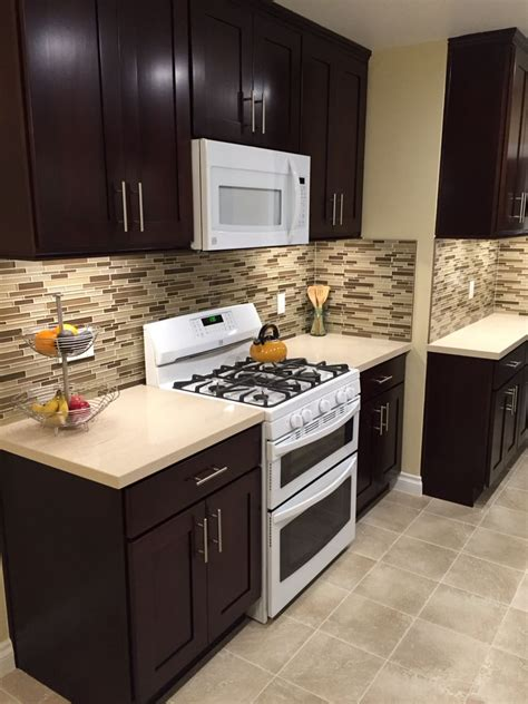 Espresso Kitchen Cabinets With White Appliances Pinteres White And Espresso Kitchen Cabinets