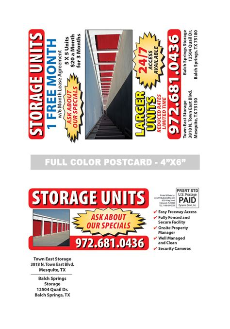 Self Storage Postcard Sles Print Label And Mail Self Mailer Postcard Template