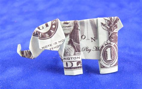 Dollar Bill Origami Elephant - how to make origami elephant out of money