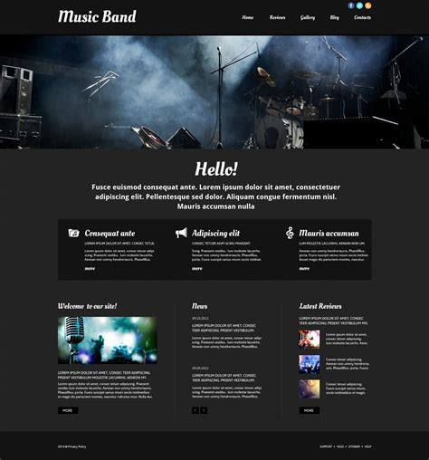 Music Band Responsive Website Template 52511 Best Website Templates For Musicians