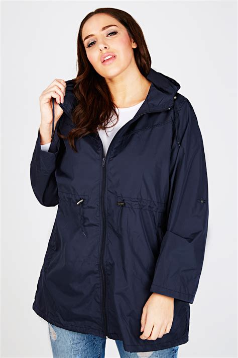 Jaket Parka Sensor Navy Pocket navy shower resistant pocket parka jacket with plus