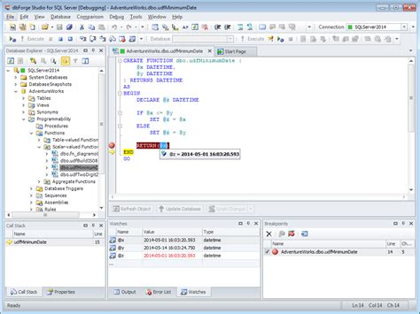 t sql sql debugger helps to debug transact sql stored procedures