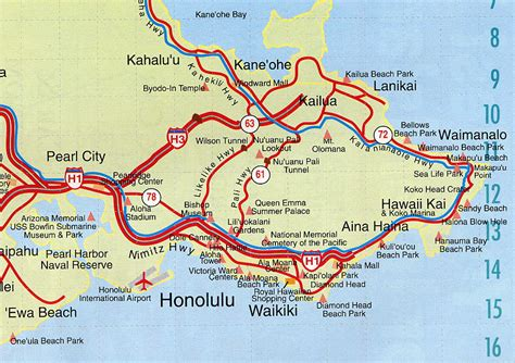 honolulu map image map of honolulu oahu
