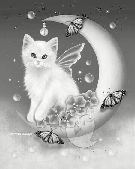 fairy cat coloring page butterfly cat kitten fairy butterfly crescent moon