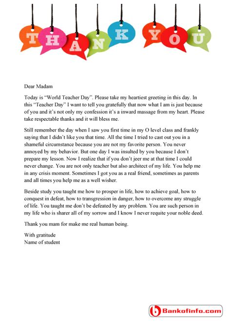 thank you letter for teachers day a sle thank you letter to from student for the